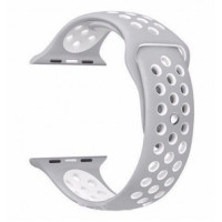 Ремешок-браслет для Apple Watch 38mm Silicone Nike Sport Band (Grey-White)