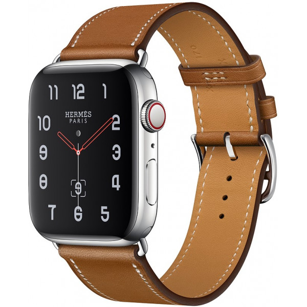 Apple Watch Hermes Series 4 GPS + Cellular 44mm Stainless Steel Case with Fauve Barenia Leather Single Tour Deployment Buckle (MU742)