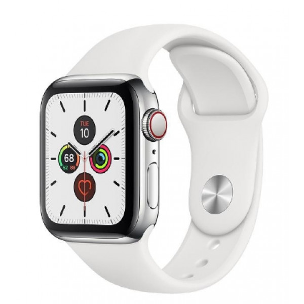 Apple Watch Series 5 LTE 40mm Steel w. White b.- Steel (MWWR2, MWX42)