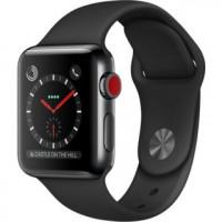 Apple Watch Series 3 GPS + Cellular 38mm Space Black Stainless Steel w. Black Sport B. (MQJW2)
