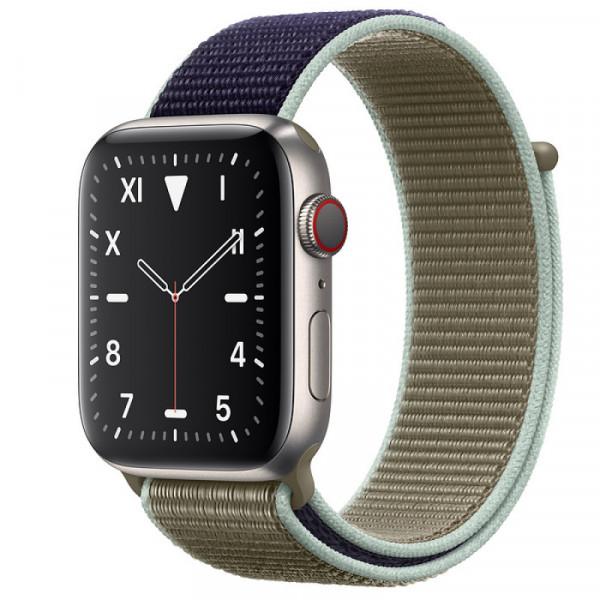 Apple Watch Series 5 LTE 44mm Titanium Case with Khaki Sport Loop (MX5G2)