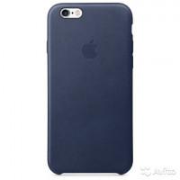 Чехол Накладка для iPhone 6 Plus Apple Leather Case Original (темно синий) (кожа)