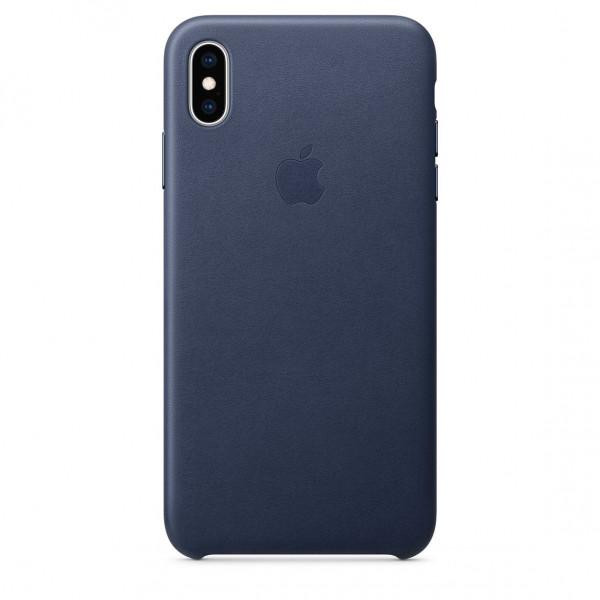 Чехол Накладка для iPhone Xs Max Apple Leather Case (Midnight Blue)