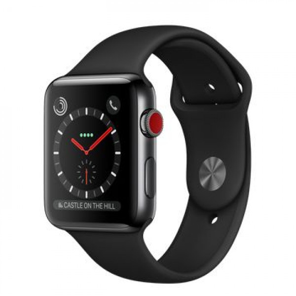 Apple Watch Series 3 GPS + Cellular 42mm Space Black Stainless Steel w. Black Sport B. (MQM02)