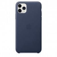 Чехол Накладка для iPhone 11 Pro Max Apple Leather Case (Midnight Blue)