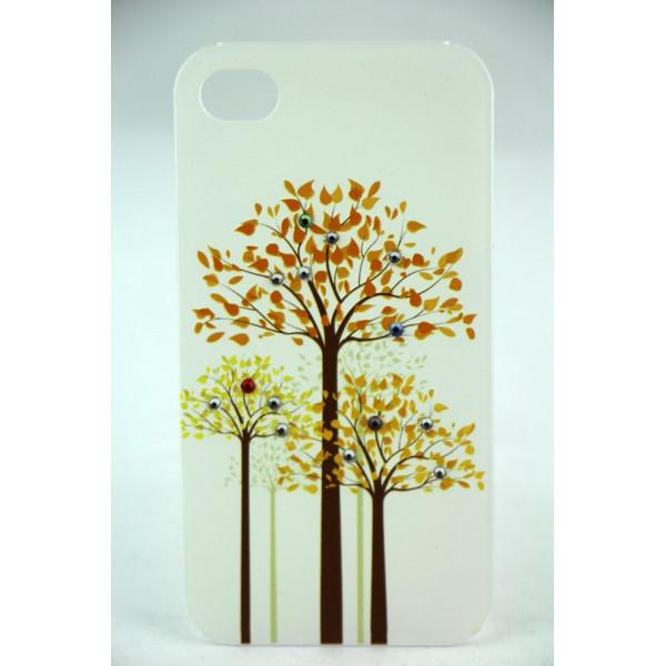 Чехол Накладка для iPhone 4/4SLAVAS SWAROVSKI Wood (Белый) (Пластик)