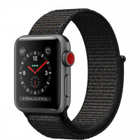 Apple Watch Series 3 GPS + Cellular 38mm Space Gray Aluminum Case with Black Sport Loop (MRQE2)