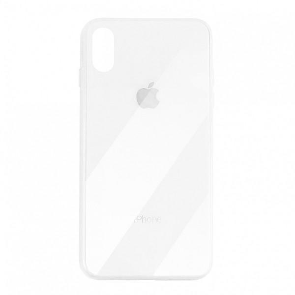 Чехол накладка iPhone Xs Max Glass Plastic Case Logo (white)