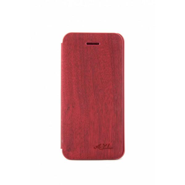 Чехол Книжка для iPhone 5/5S AiYa  (бордовый) (дерево)