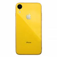 Чехол накладка iPhone Xr  Glass Silicone Case Logo (yellow)