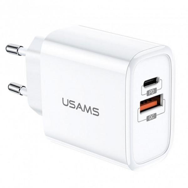 Сетевое зарядное устройство Usams T15 Type-C + USB 18W (white)