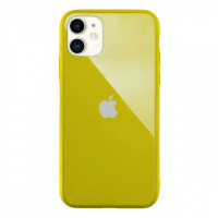 Чехол Накладка для iPhone 11 Glass Pastel color Logo (yellow)