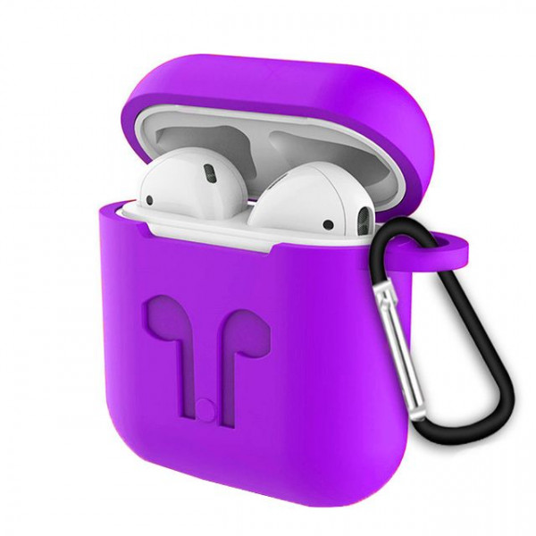 Чехол для AirPods Silicone Case with Logo and Carbine (purple)