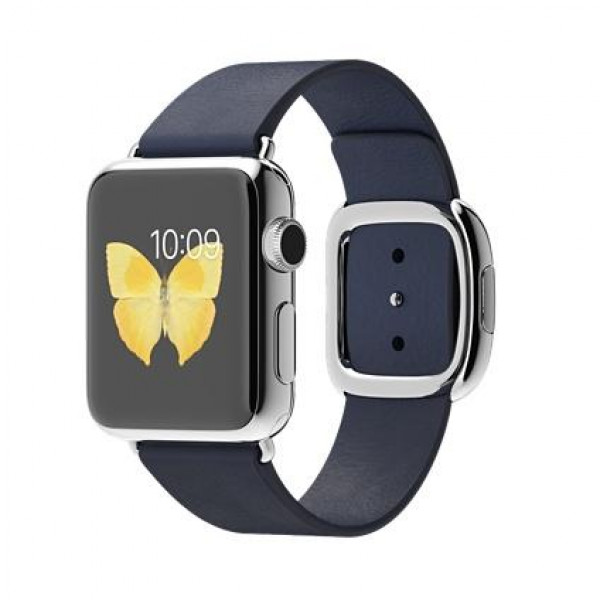 Apple Watch 38mm Stailnless Steel Case with Midnight Blue Modern Buckle (MJ352)