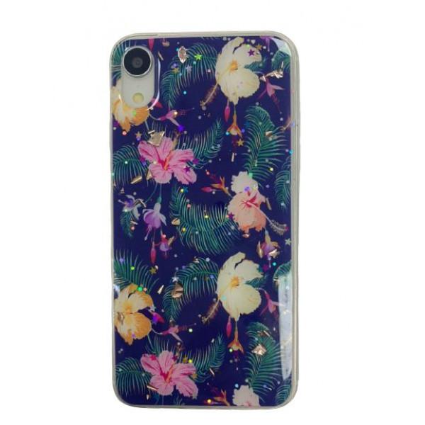 Чехол накладка iPhone Xr  Magic Flower (dark blue)
