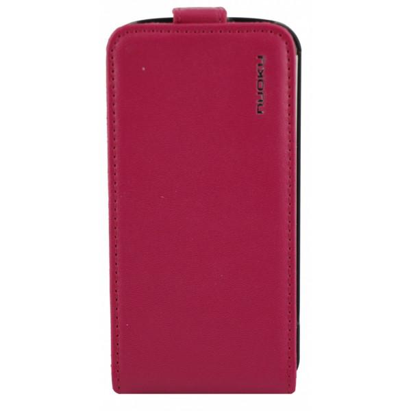 Чехол Флип для iPhone 4/4S NUOKU CRADLE (Розовый) (Преcсованая кожа)