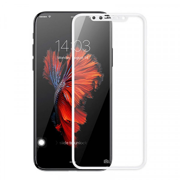 Защитные стекла для iPhone X Baseus Silk-Screen Tempered Glass Film 0.2 mm (White)