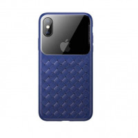Чехол накладка iPhone Xs Max Baseus Weaving Case (blue)