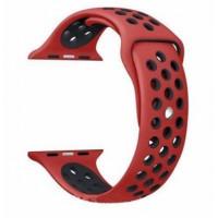 Ремешок-браслет для Apple Watch 38mm Silicone Nike Sport Band (Red-Black)