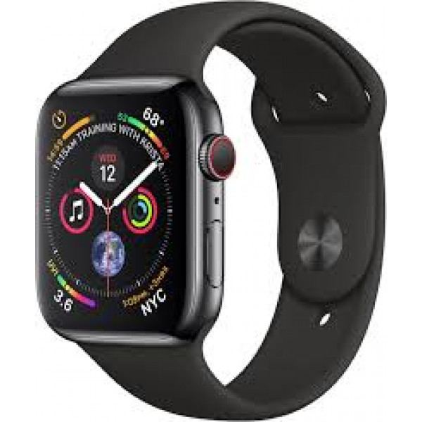 Apple Watch Series 4 GPS + LTE 40mm Stainless Steel Case with White Sport Band (MTVJ2)