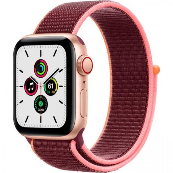 Apple Watch SE GPS + Cellular 40mm Gold Aluminum Case with Plum Sport L. (MYEC2, MYEJ2)