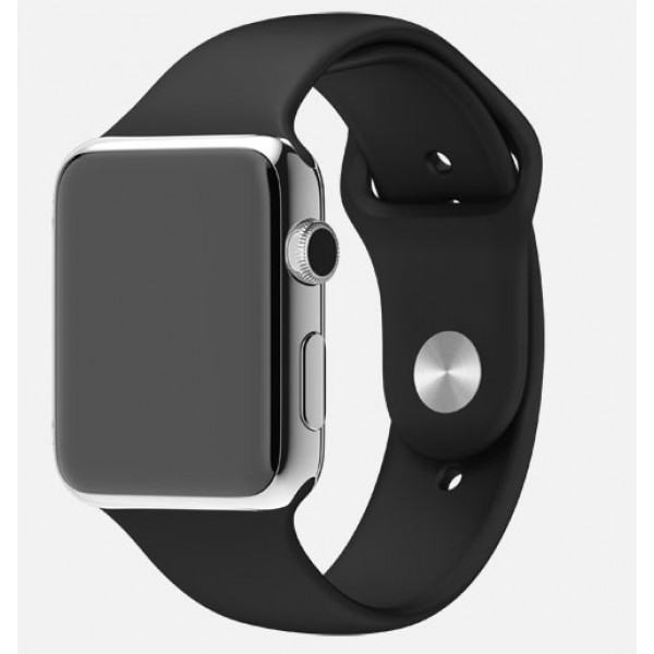 Apple Watch 38mm Stainless Steel Case with Black Sport Band (MJ2Y2)