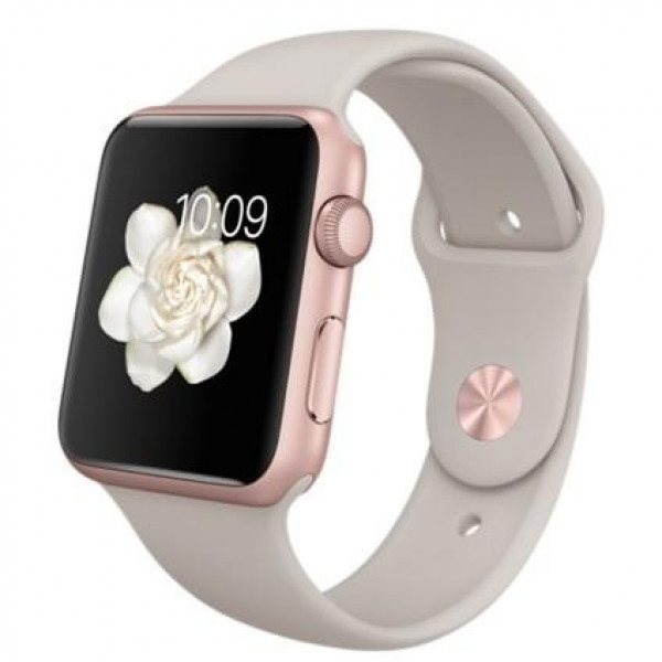Apple Watch 42mm Rose Gold Aluminum Case with Stone Sport Band (MLC62)