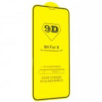 Защитные стекла iPhone X Protective Glass 9D Yellow (black) KIVI