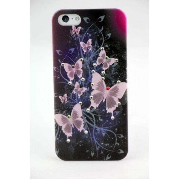 Чехол Накладка для iPhone  5/5S LAVAS SWAROVSKI Butterfly (Черный) (Пластик)