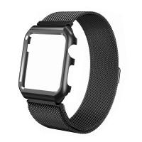 Ремешок-браслет для Apple Watch 38mm Milanese Loop Band + Metal Case (Black)