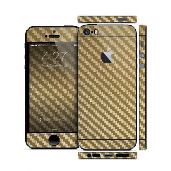Защитная Пленка для iPhone 5/5S SLIMSKIN (360) (Золотой ) (Carbon)