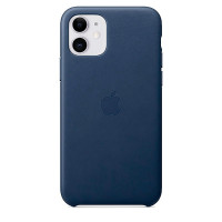 Чехол Накладка для iPhone 11 Apple Leather Case (Midnight Blue)