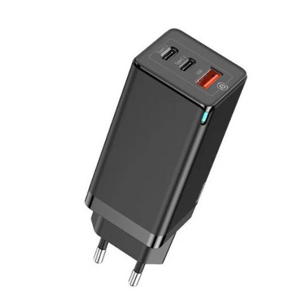 Сетевое зарядное устройство Baseus GaN Quick Travel Charger C+C+A 65W EU Black