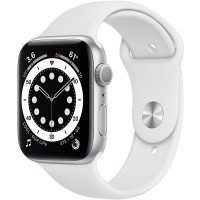 Apple Watch Series 6 GPS 44mm Silver Aluminum Case w. White Sport B. (M00D3)