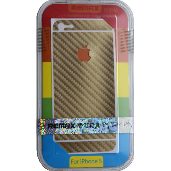Защитная Пленка для iPhone 5/5S  REMAX CARBON (Золотой )