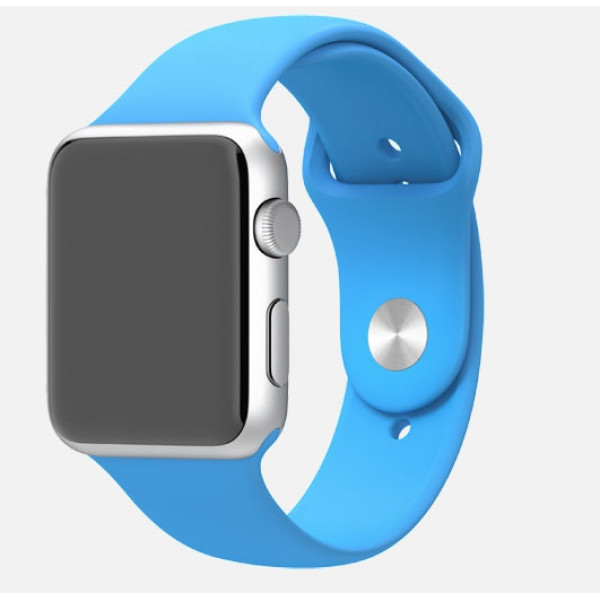 Apple Watch 42mm Silver Aluminum Case with Blue Sport Band (MJ3Q2)