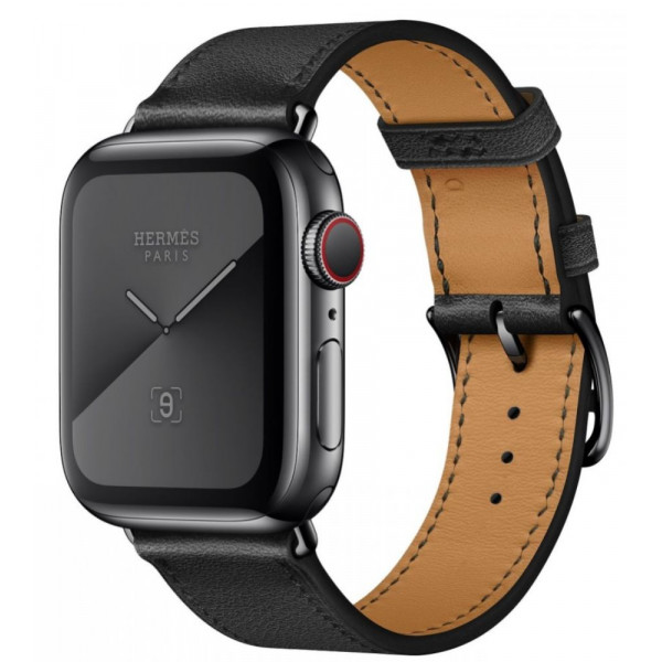 Apple Watch Hermès GPS + Cellular 44mm Space Black Stainless Steel Case with Noir Swift Leather Single Tour (MWWM2/MWW92)