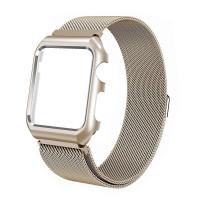 Ремешок-браслет для Apple Watch 42mm Milanese Loop Band + Metal Case (Light Gold)