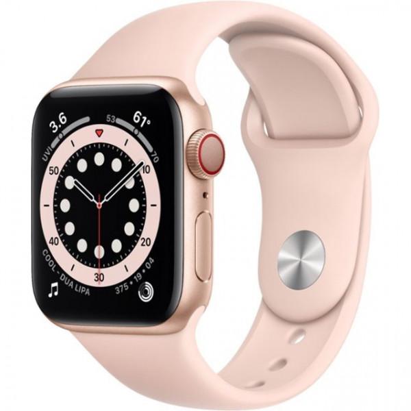 Apple Watch Series 6 GPS + Cellular 40mm Gold Aluminum Case w. Pink Sand Sport B. (M02P3)