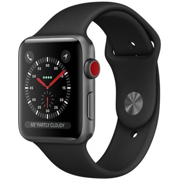 Apple Watch Series 3 GPS + Cellular 42mm Space Gray Aluminum w. Black Sport B. (MQKN2)