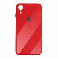 Чехол накладка iPhone Xr  Glass Plastic Case Logo (red)