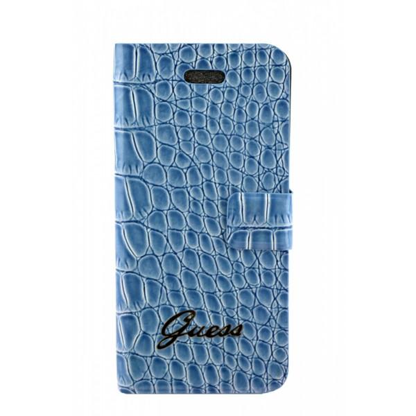 Чехол Книжка для iPhone 5/5S GUESS Crocodile Glare (синий) (кожа)