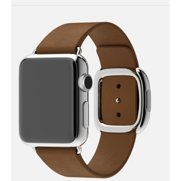 Apple Watch 38mm Stainless Steel Case with Brown Modern Buckle (MJ3A2)