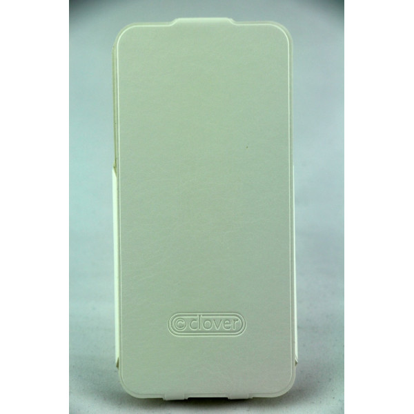 Чехол Флип для iPhone 5/5S CLOVER(Белый) (кожа)