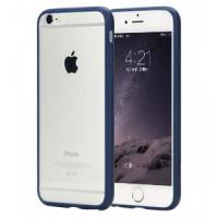 Чехол Накладка для iPhone 6  ESCOTT Clear Shell (Прозрачный+Синий) (Пластик)