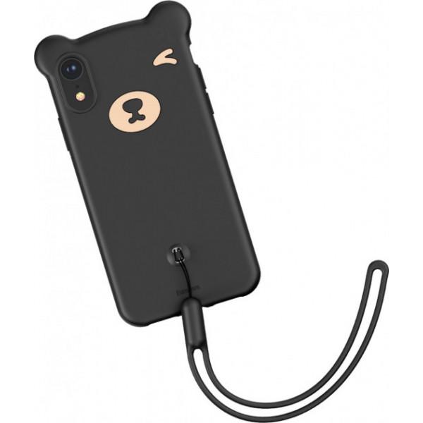 Чехол накладка iPhone Xr  Baseus Bear  Case (black)